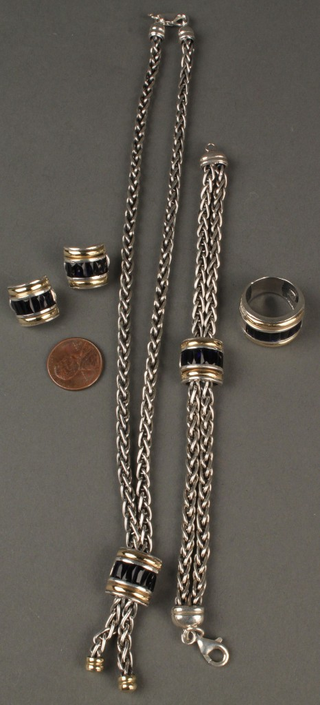 Lot 404: Set of 18K, Sterling and blue stone jewelry