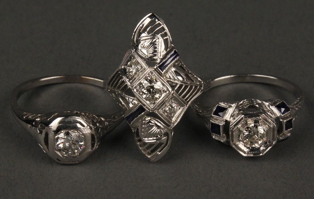 Lot 405: Lot of 3 Art Deco Diamond Rings