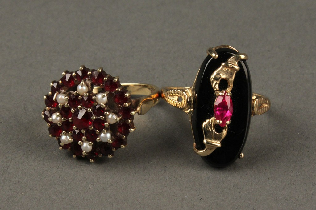 Lot 406: 14K garnet, seed pearl ring & 10K Victorian onyx ring