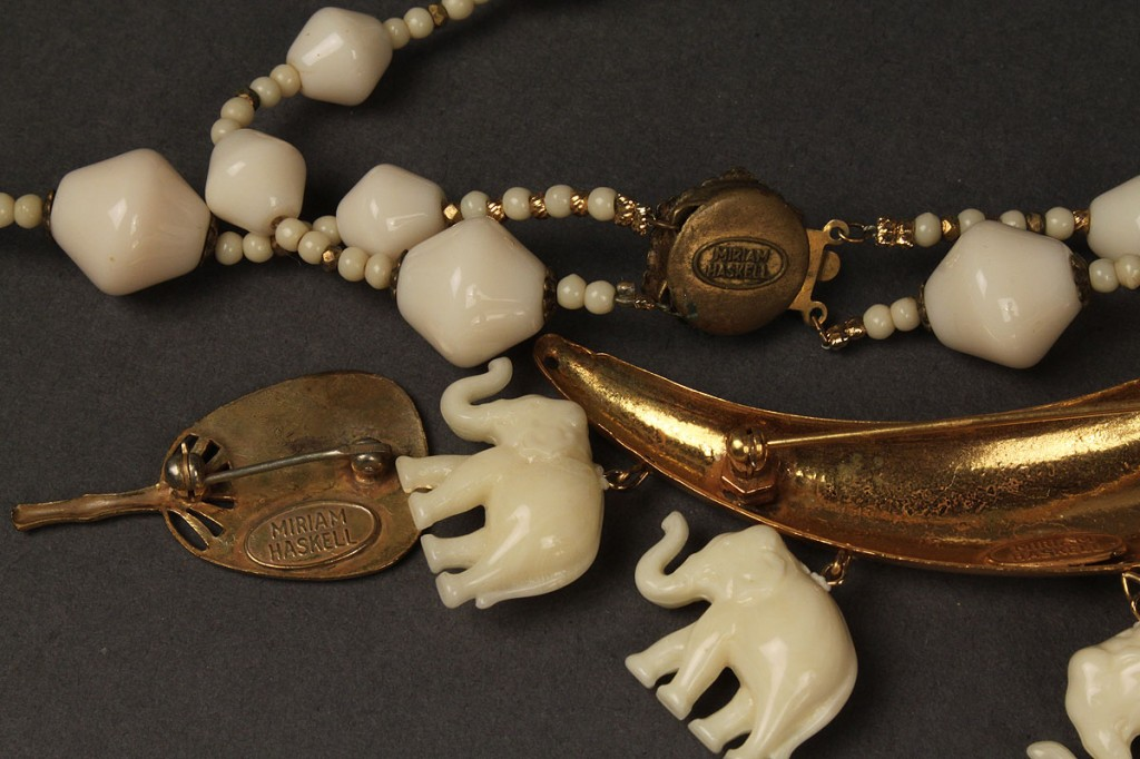Lot 408: Three Asian themed Miriam Haskell jewelry items