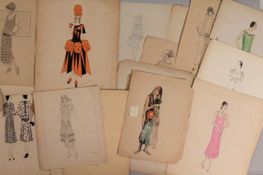 Lot 411: Collection of 1920's Pencil & Ink Fashion Drawings