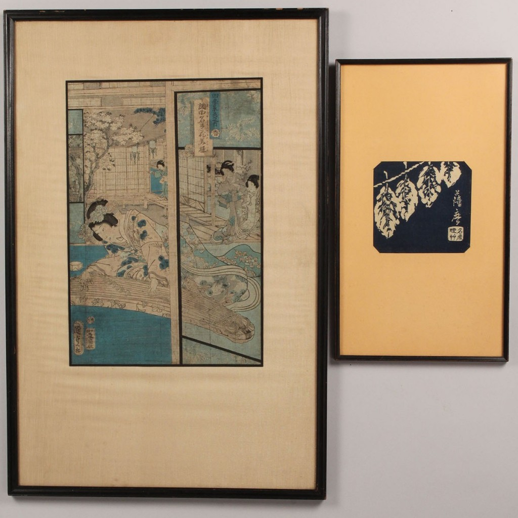 Lot 415: Lot of 2 Japanese Woodblock Prints, artist stamped