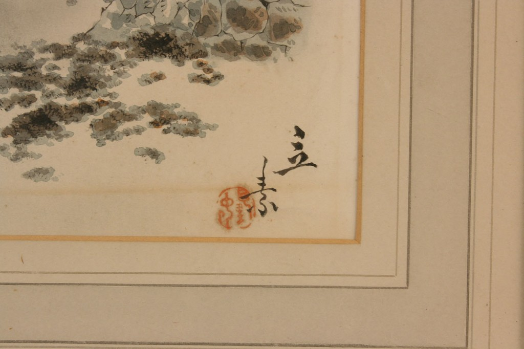 Lot 417: Pair of Japanese framed watercolor landscapes, signed