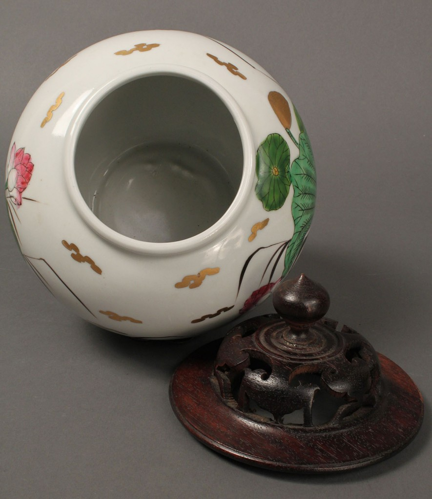 Lot 419: Chinese Ginger Jar w/ Carved Wooden Lid