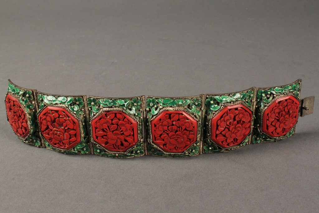 Lot 424: Chinese Art Deco enamel and cinnabar bracelet