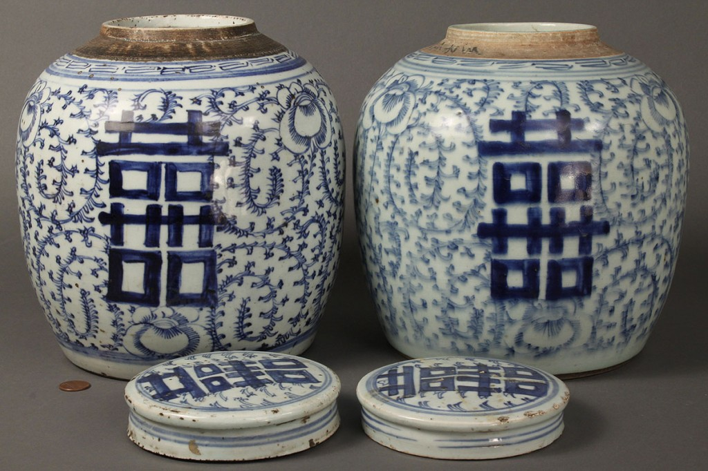 Lot 430: Pair of Blue & White Chinese Ginger Jars