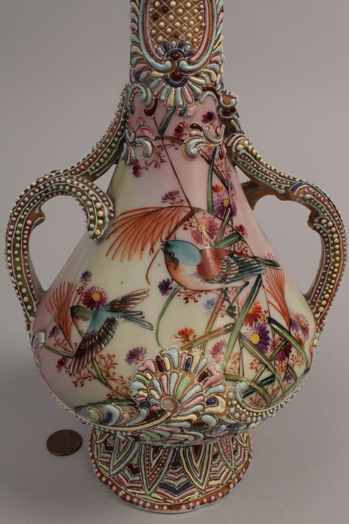 Lot 434: Nippon Moriage Double Handled Vase