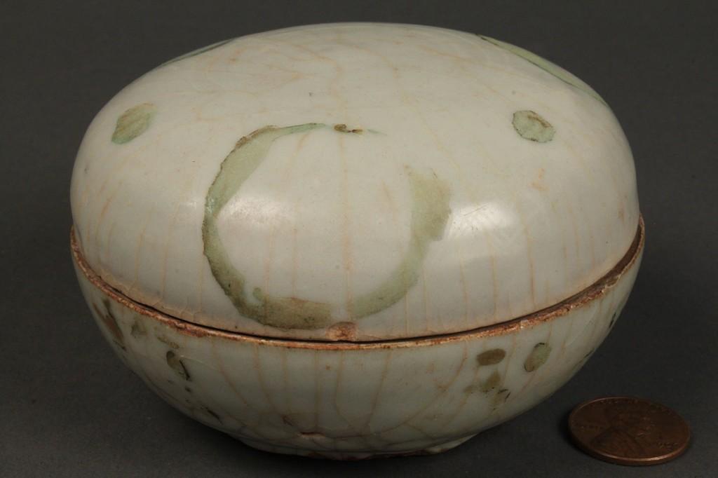 """Lot 437: Chinese Celadon """"Red Ming"""" Jar"""