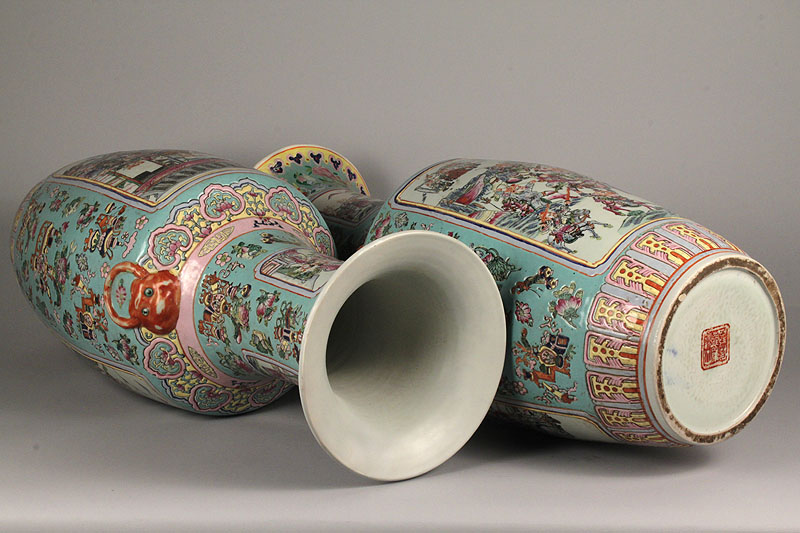 Lot 438: Pair of Chinese Famille Rose Urn vases