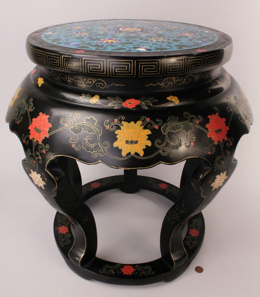 Lot 439: Chinese Cloisonne Inlaid Lacquered Wooden Stool