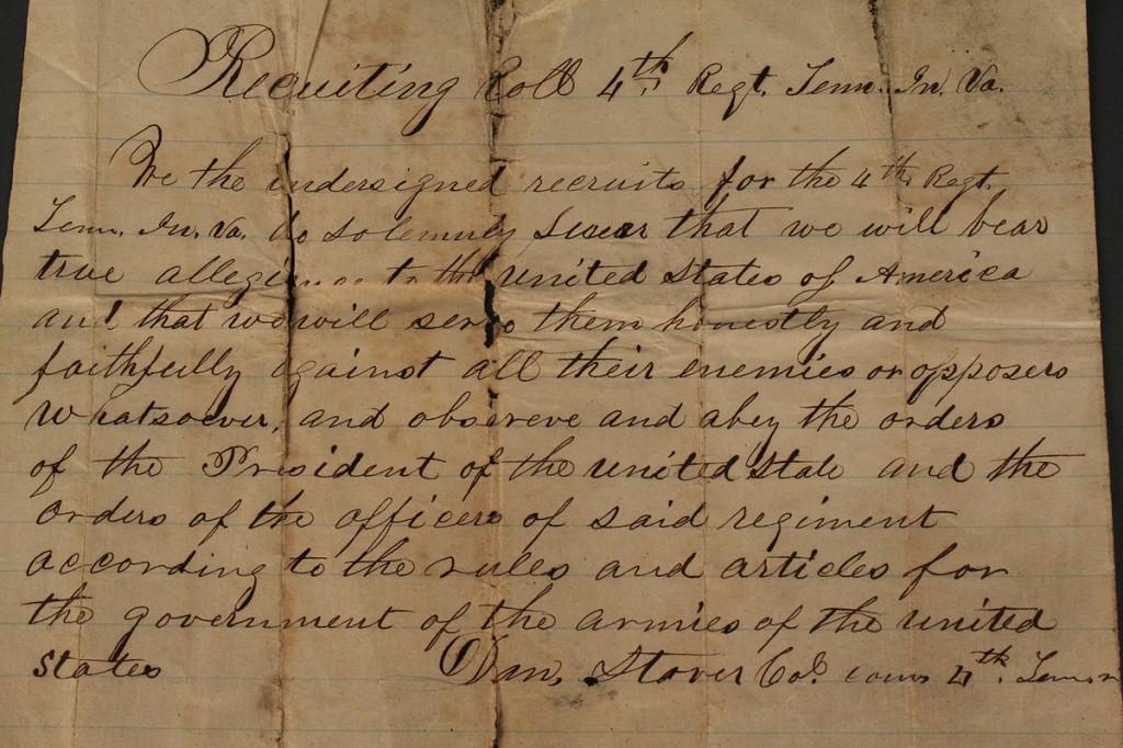 Lot 43: Recruiting Roll Document, 4th TN Regiment
