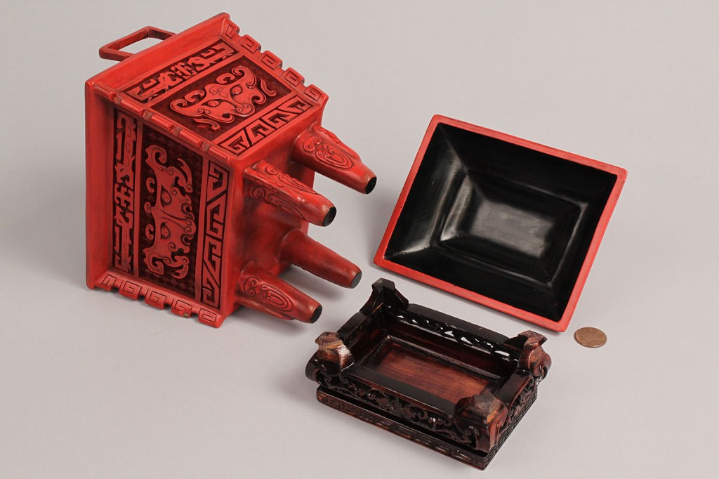 Lot 442: Two Cinnabar type Incense Boxes w/ Hardwood Stands