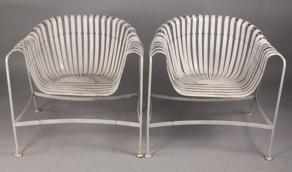 Lot 446: Pair of Silvertone Iron Garden Chairs, Modern