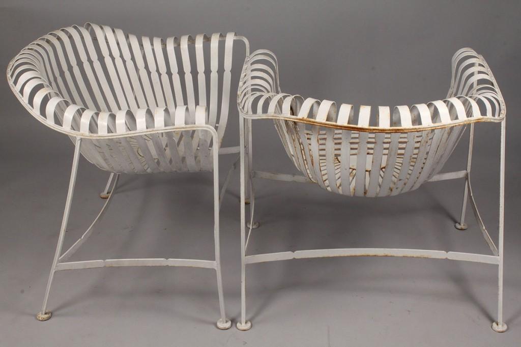 Lot 447: Pair of Silvertone Garden Chairs, Modern