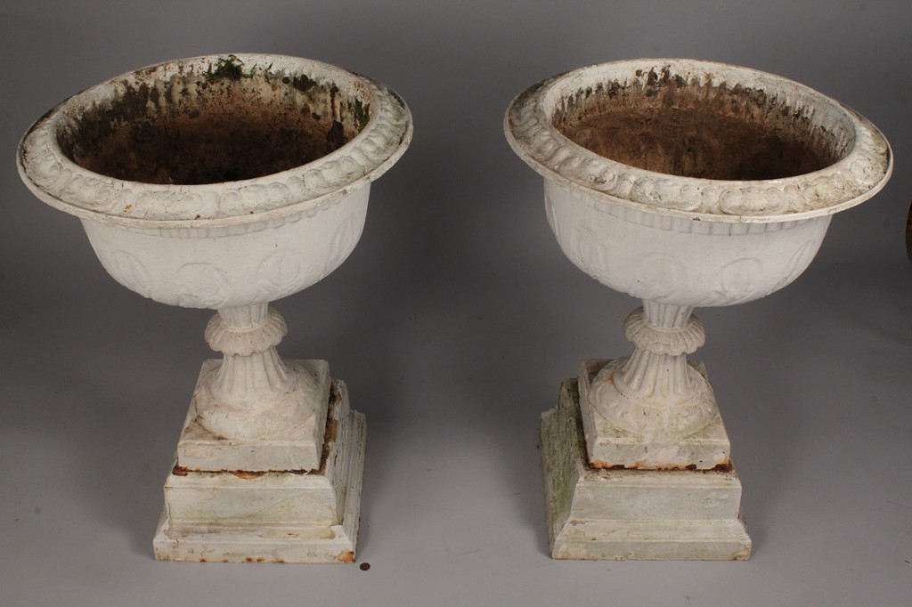 Lot 448: Large pair of Victorian Cast Iron Urns