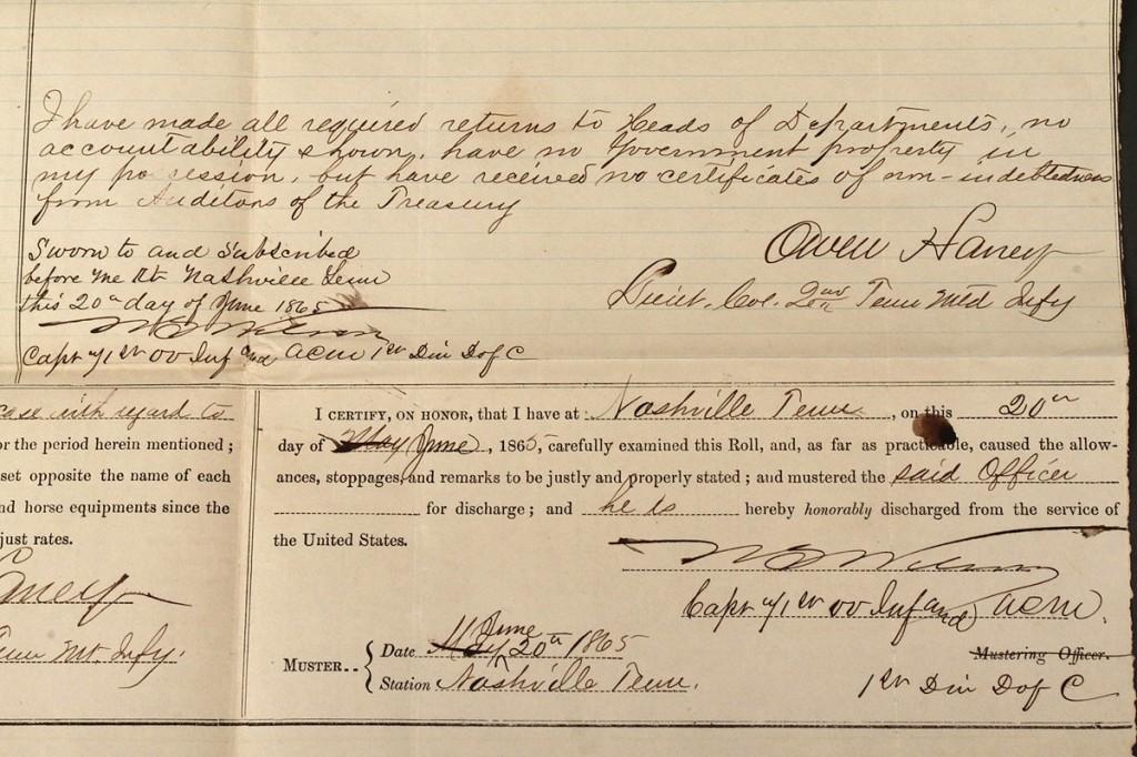 Lot 44: Five Civil War Union Army documents
