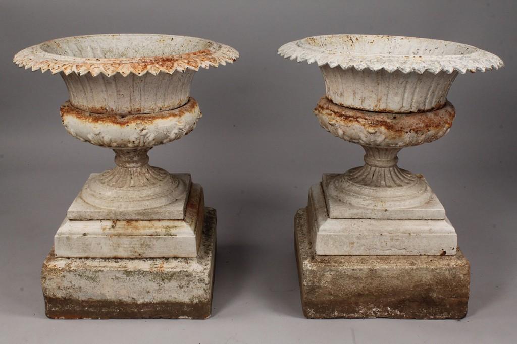 Lot 450: Pair of Cast Iron Garden Urns