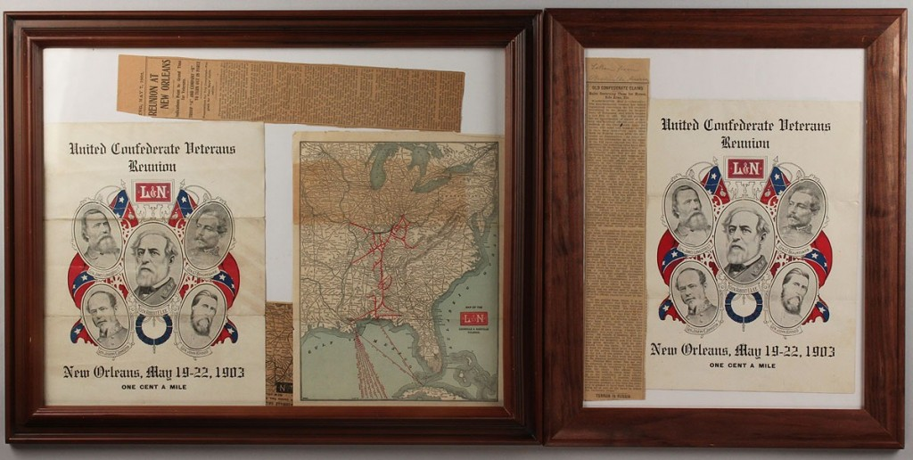 Lot 454: Lot of 2 Confederate Reunion Programs & Railroad Maps