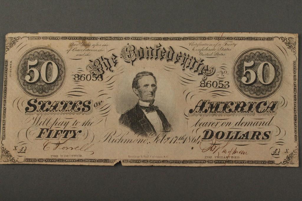 Lot 456: Lot of 2 Civil War Confederate Bonds w/ 3 Confederate Currrency Notes