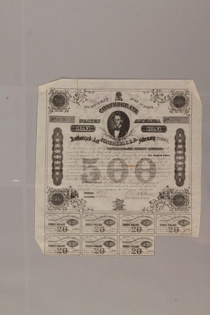 Lot 457: Lot of 3 Confederate bonds, group 1