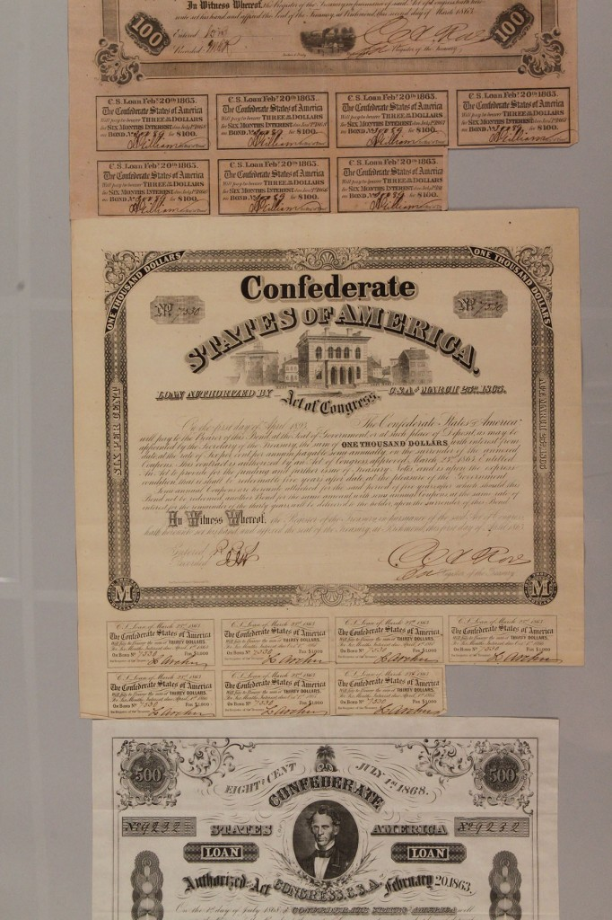 Lot 458: Lot of 3 Confederate bonds, group 2