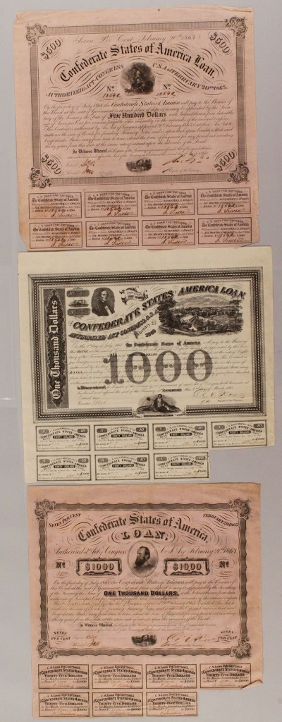 Lot 459: Lot of 3 Confederate bonds, group 3