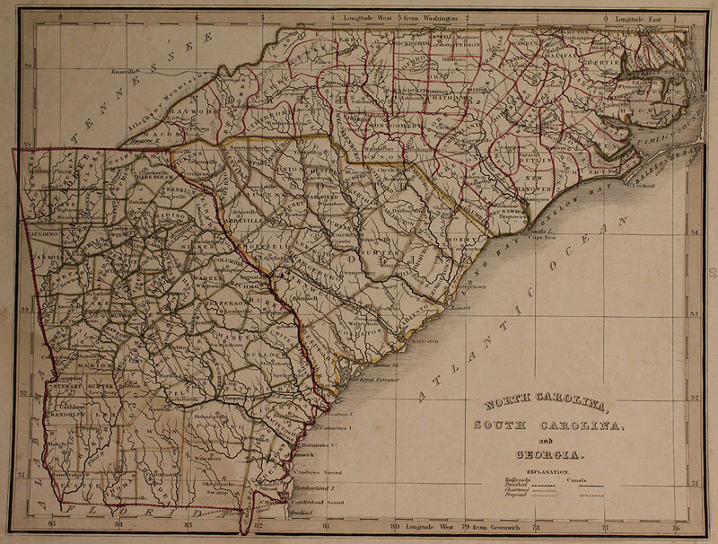 Auctions In Alabama >> Lot 463: Grouping of Early 19th century Southern Maps includ. TN, GA, 6 total