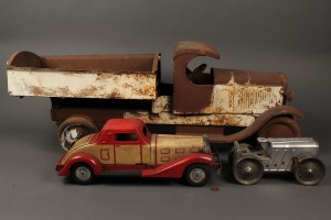 Lot 478: Lot of 3 Metal Toy Cars and Truck