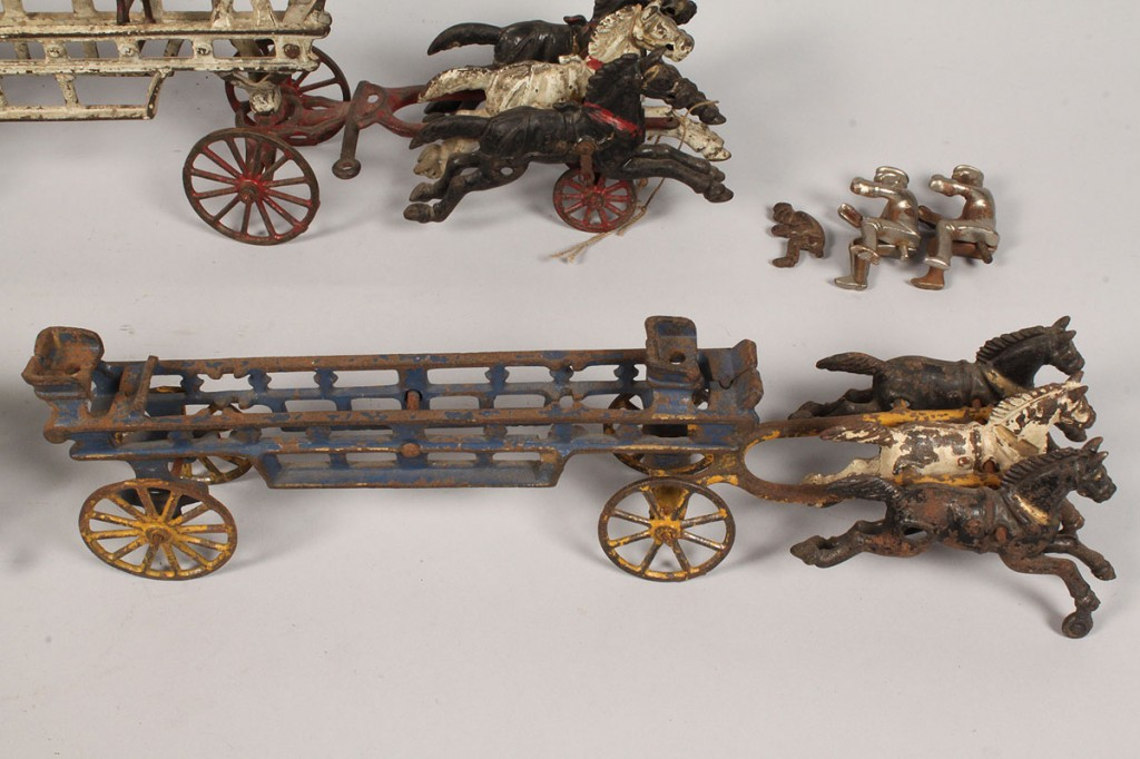 Lot 481: Lot of 3 Toy Pressed Steel  Fire Wagons