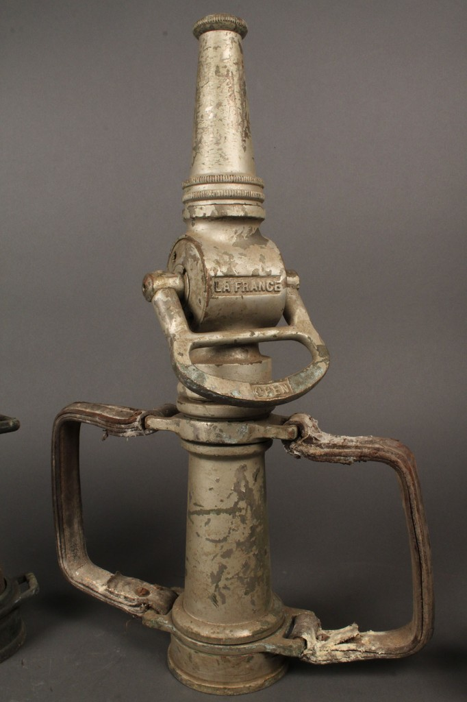Lot 488:  Lot of Fire-related Items, incl. hose nozzles (32 items)