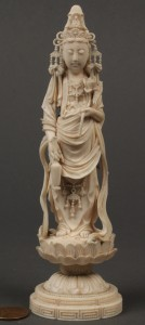 Lot 4: Oriental carved ivory figure of Quan Yin