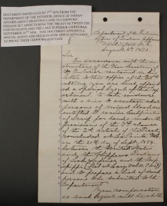 Lot 502: Dept. of Interior document, Chippewa Indians