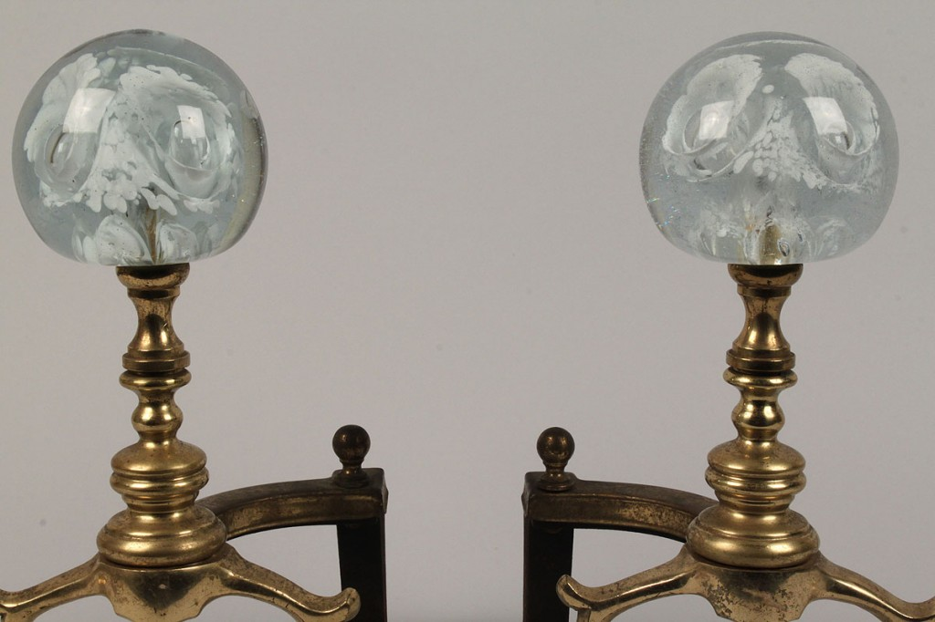 Lot 505: Pair of Andirons w/ Paperweight Finials