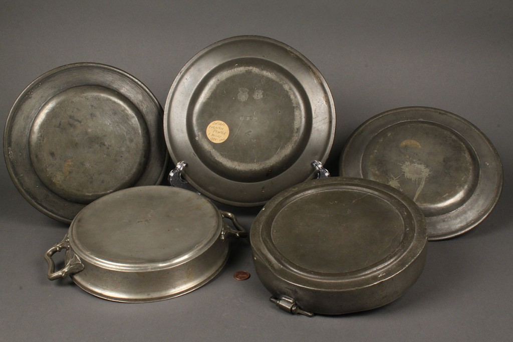 Lot 507: Lot of 5 Pewter Items, English and French