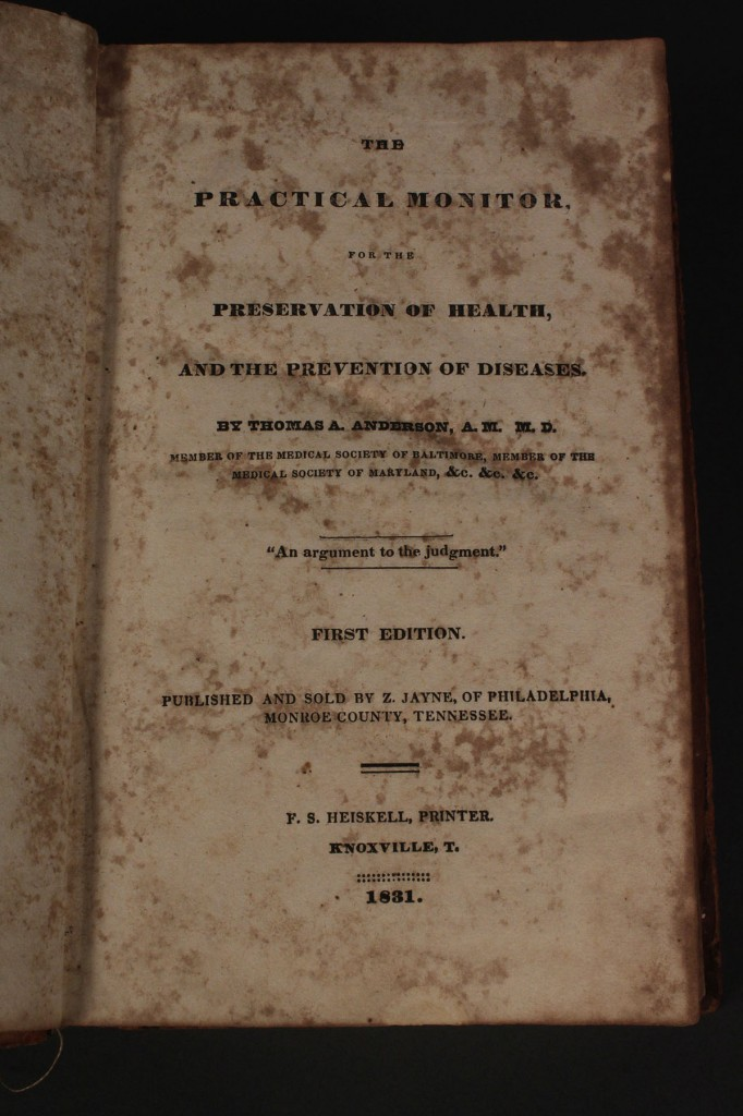 Lot 50: First Edition 1831 Health Prevention Book, Knoxville published