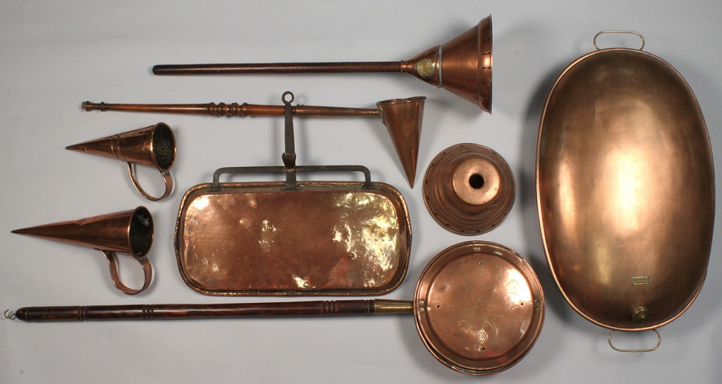 Lot 510:  Lot of 7 Copper Domestic Items, early-late 19th c.