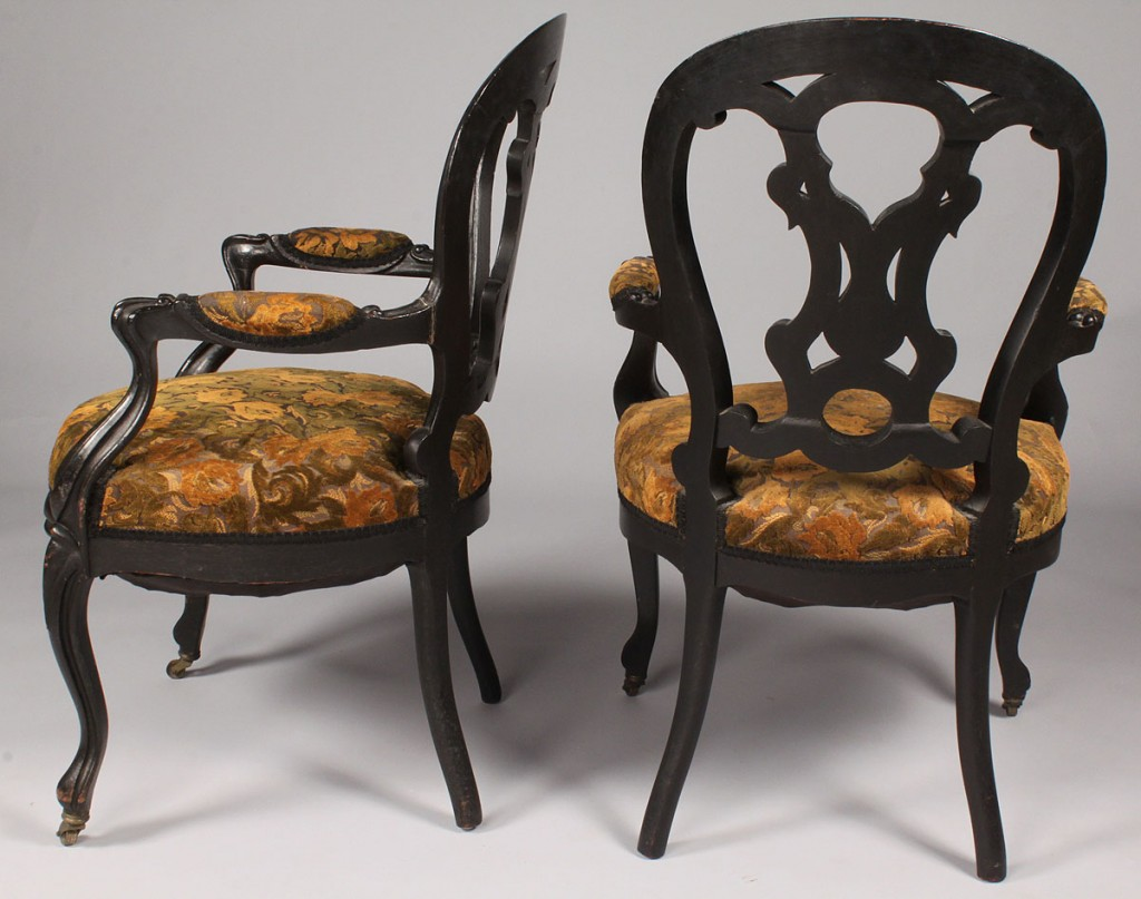 Lot 515: Pair of Rococo Revival armchairs, late 19th c.