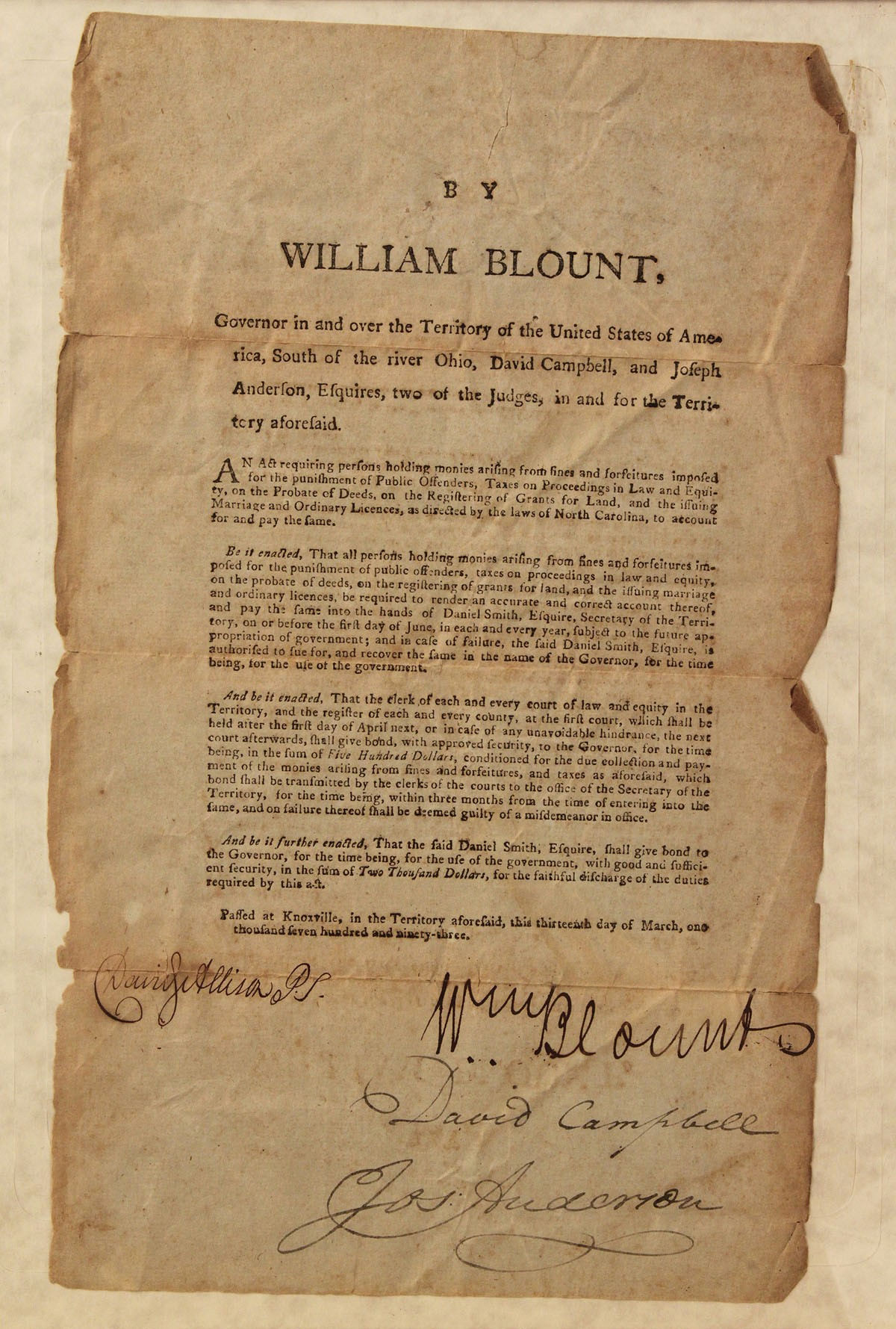 a biography of william blount On march 26, 1749, signer of the constitution and early political leader william  blount was born in bertie county blount served in the.