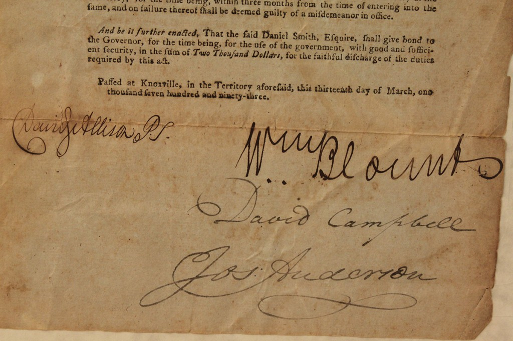 Lot 51: Wm. Blount signed document, 1793
