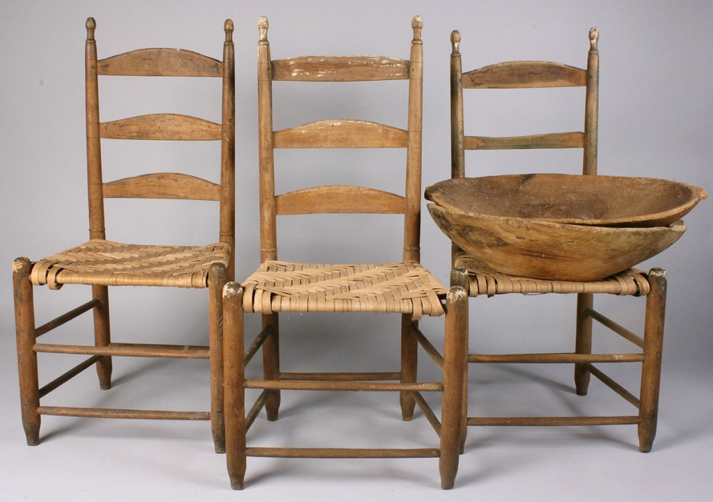 Lot 520: Lot of East TN Items – Chairs & Bowls, 5 items