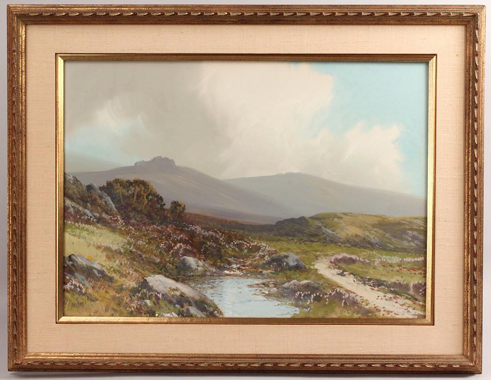 Lot 523: Scottish Highland watercolor gouache landscape