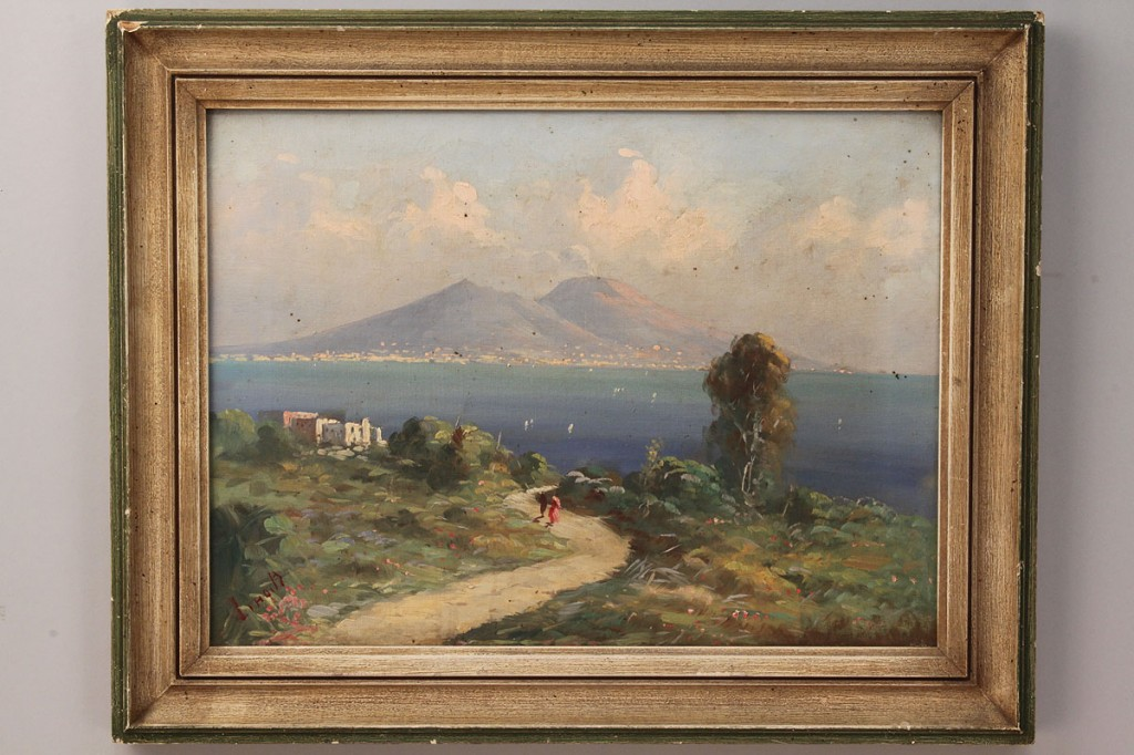 Lot 525: Lot of 2 oil paintings, ocean and mountain landscapes