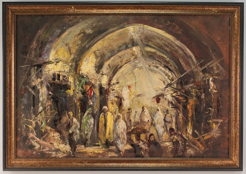 Lot 533: Oil on Canvas,  Middle Eastern Bazaar Scene