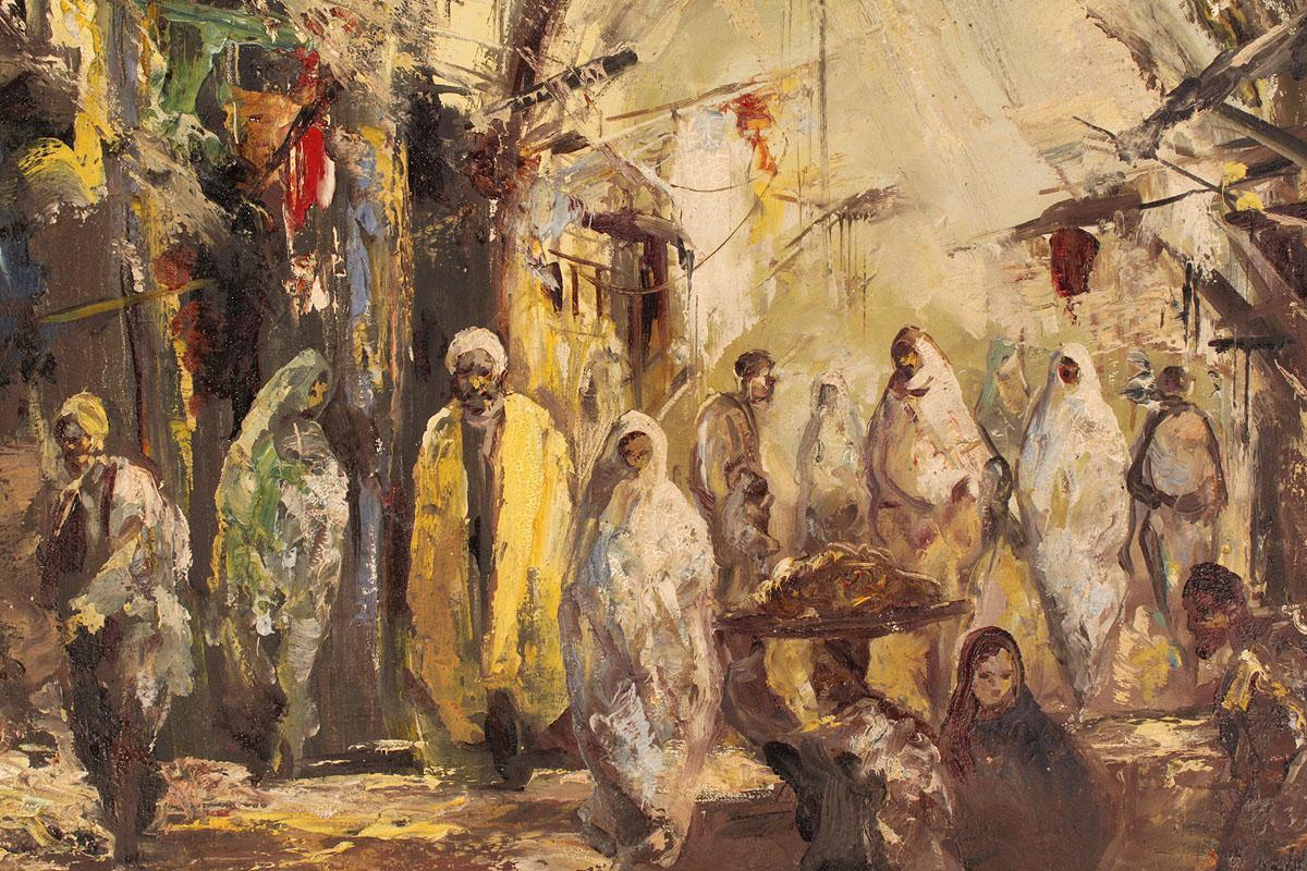 Lot 533 Oil On Canvas Middle Eastern Bazaar Scene