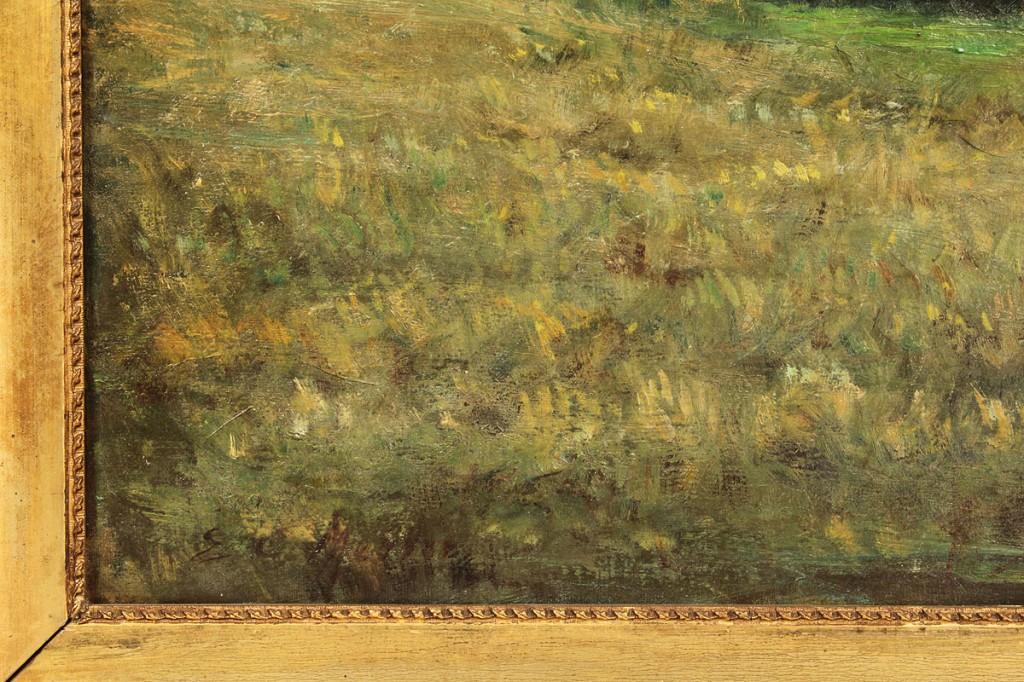 Lot 537: Oil on Canvas, Pastoral landscape, signed