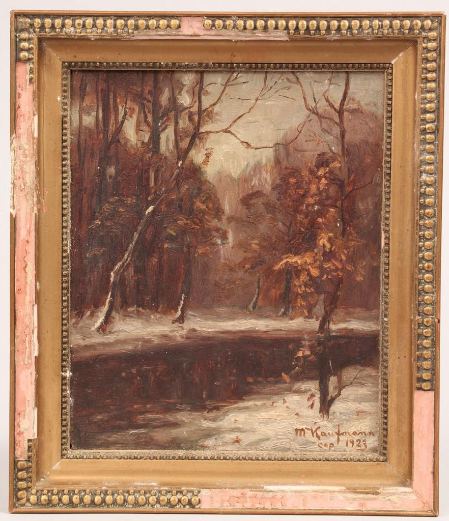 Lot 538: M. Kaufmann Oil on Board Forest Scene