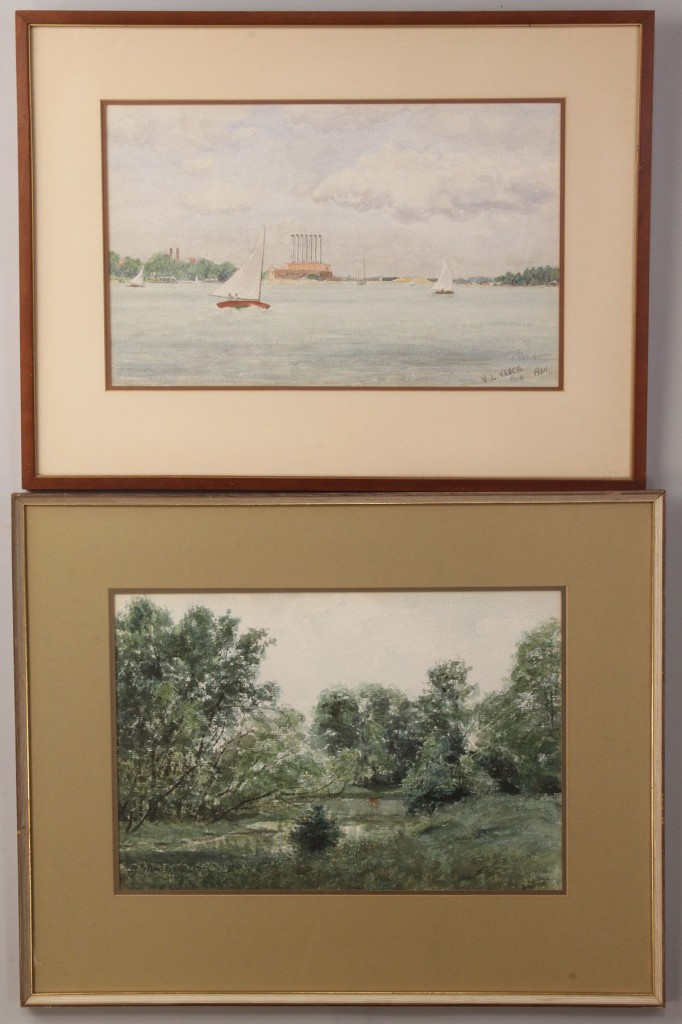Lot 540: Lot of two V. L. Vance watercolors, 1930s