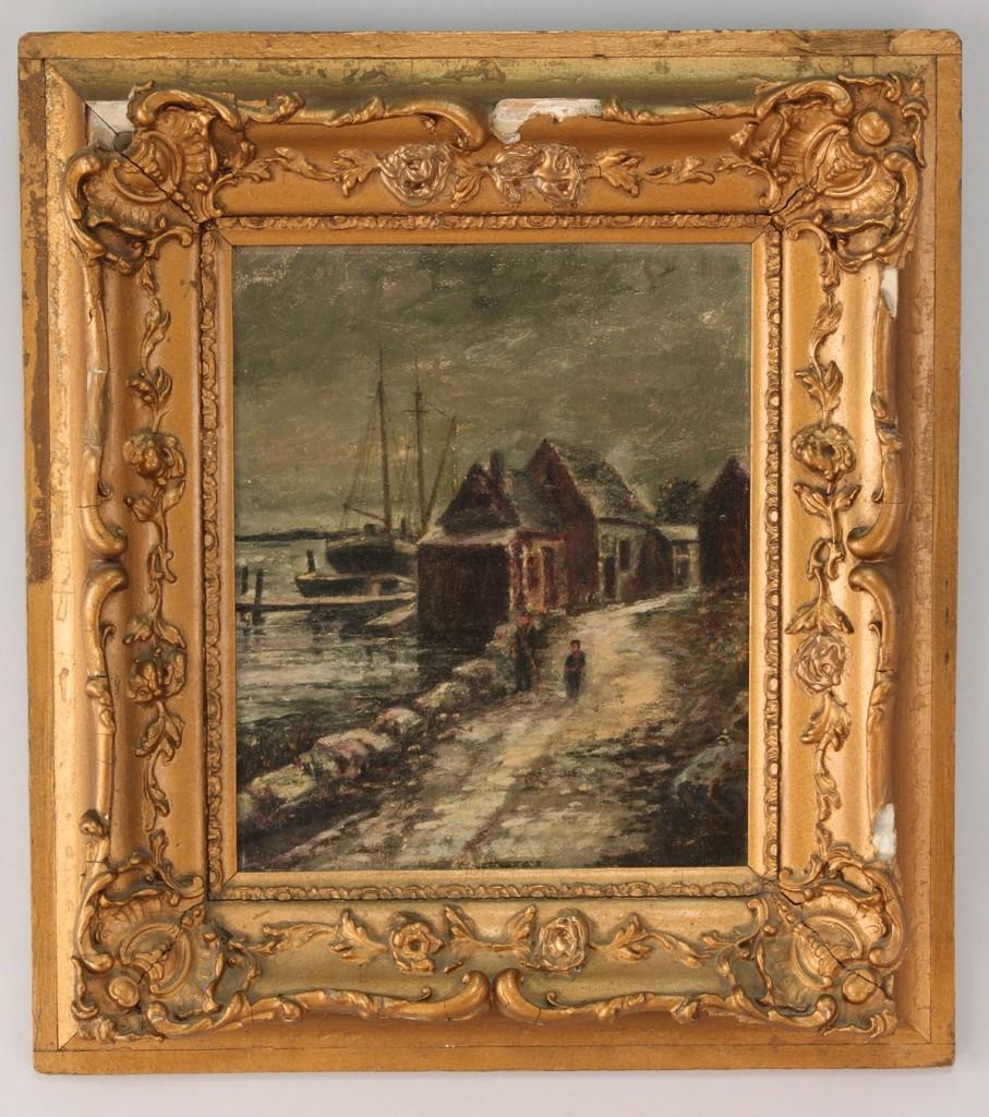 Lot 541: H. Brookbank Oil on Board, Maine Fishing Village