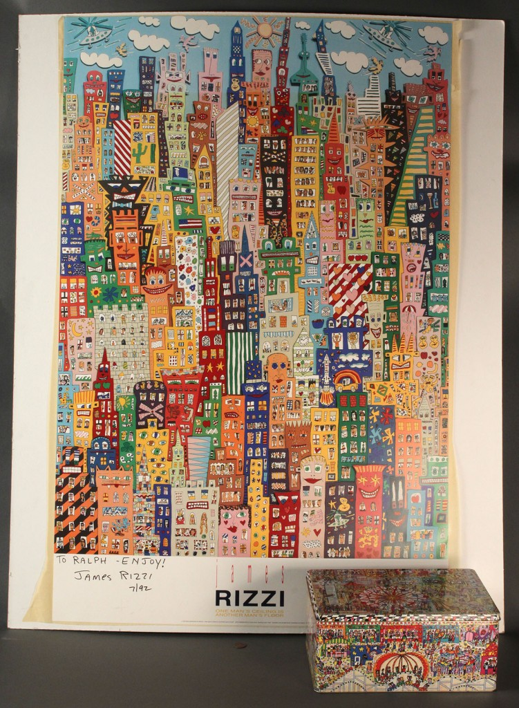 Lot 542: James Rizzi Poster & Metal Box, both signed