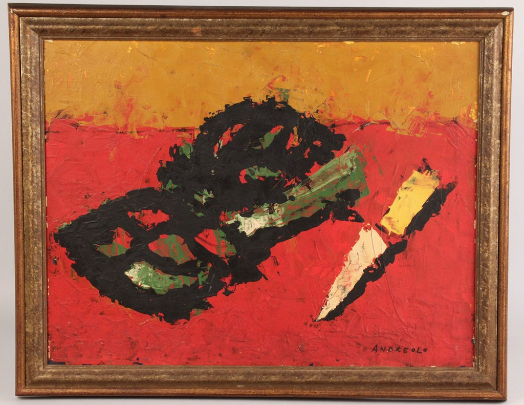 Lot 543: Andreolo Abstract Oil on Board